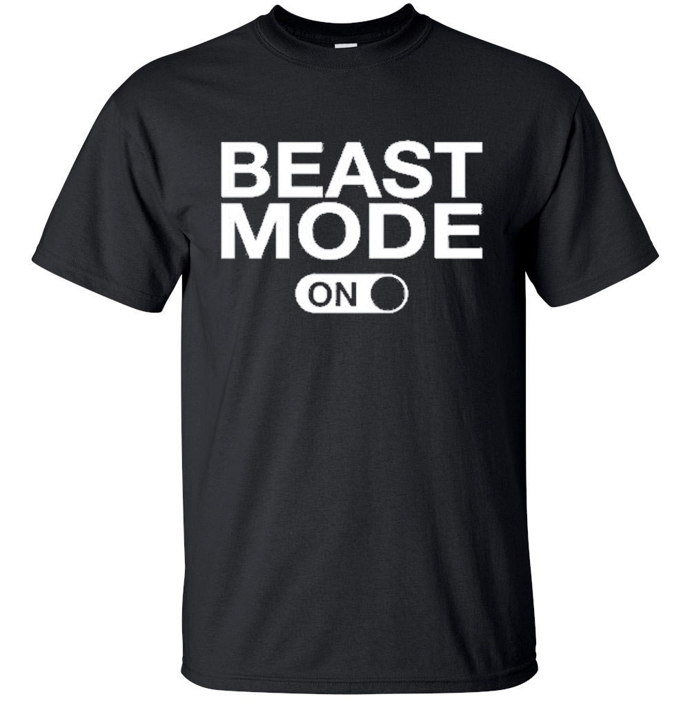 Men's 100% Cotton Funny Gym Workout T-Shirt-2X-Large-Beast Mode On - Black-Daily Steals