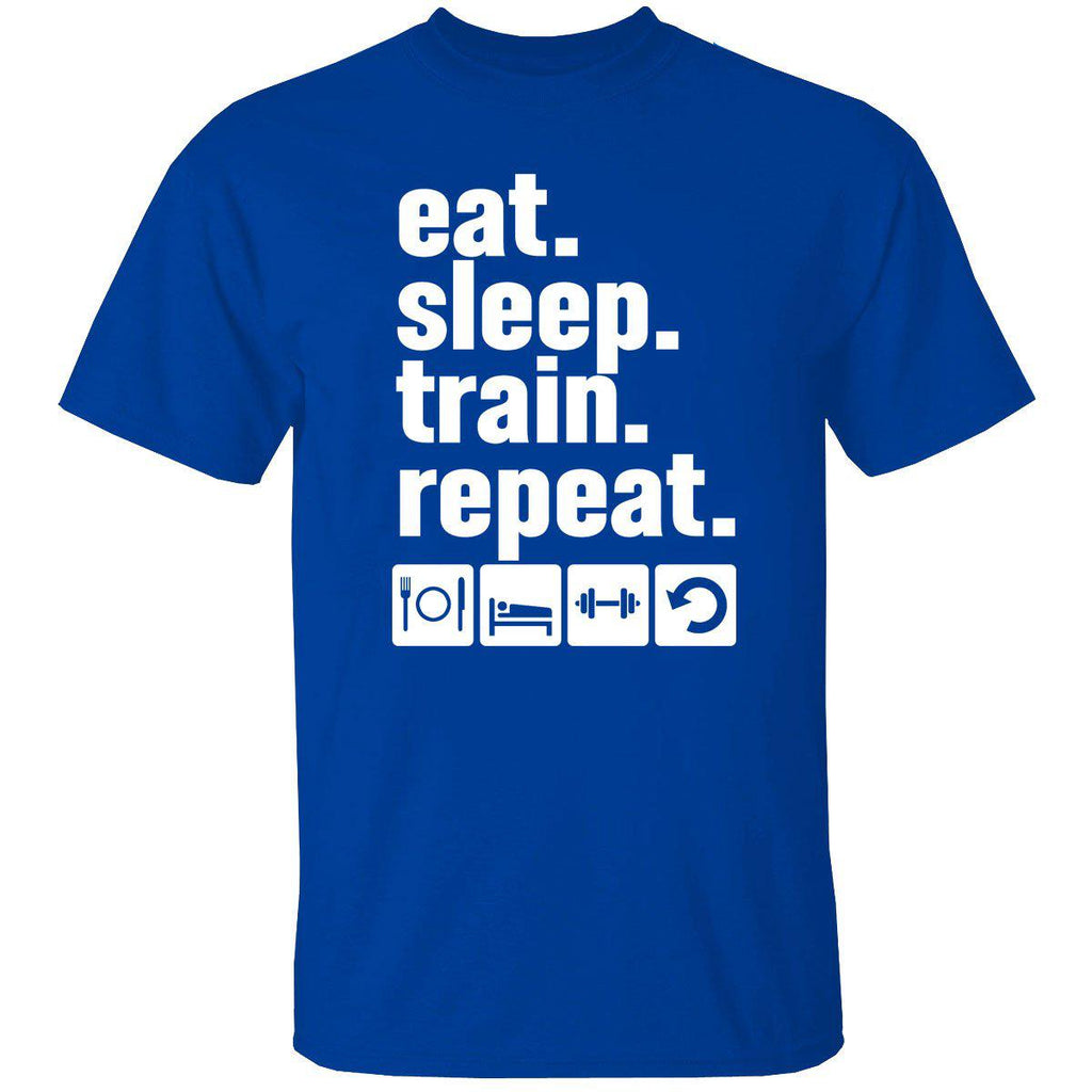 Men's 100% Cotton Funny Gym Workout T-Shirt-2X-Large-eat. sleep. train. repeat. - Royal Blue-Daily Steals