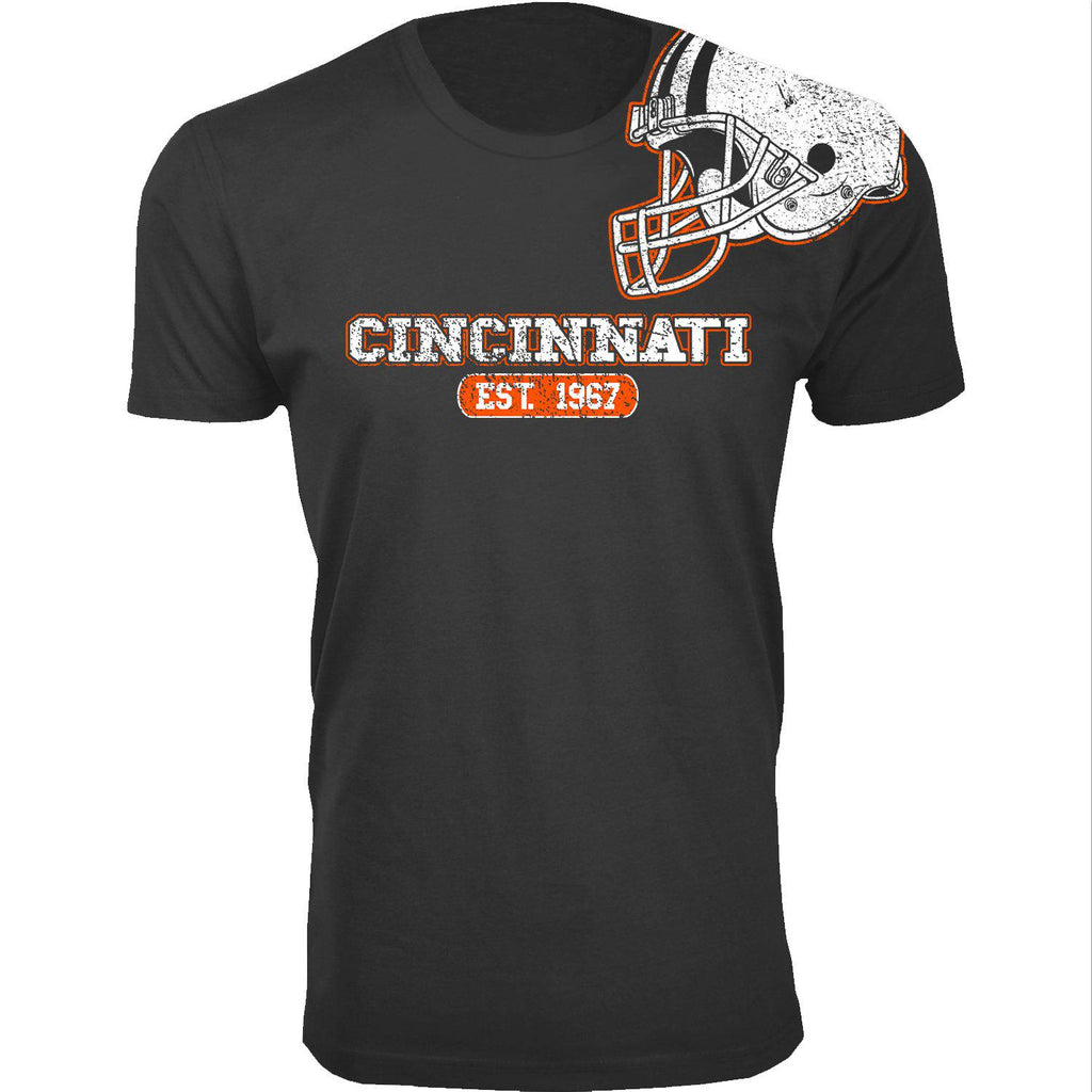 Men's Football Helmet Cotton T-Shirts-Cincinnati - Black-2X-Large-Daily Steals