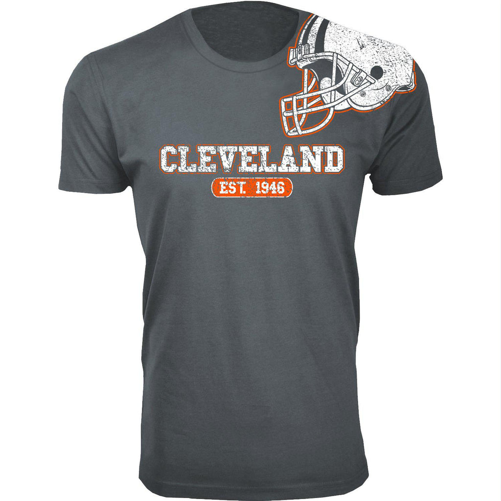 Men's Football Helmet Cotton T-Shirts-Cleveland - Charcoal-2X-Large-Daily Steals