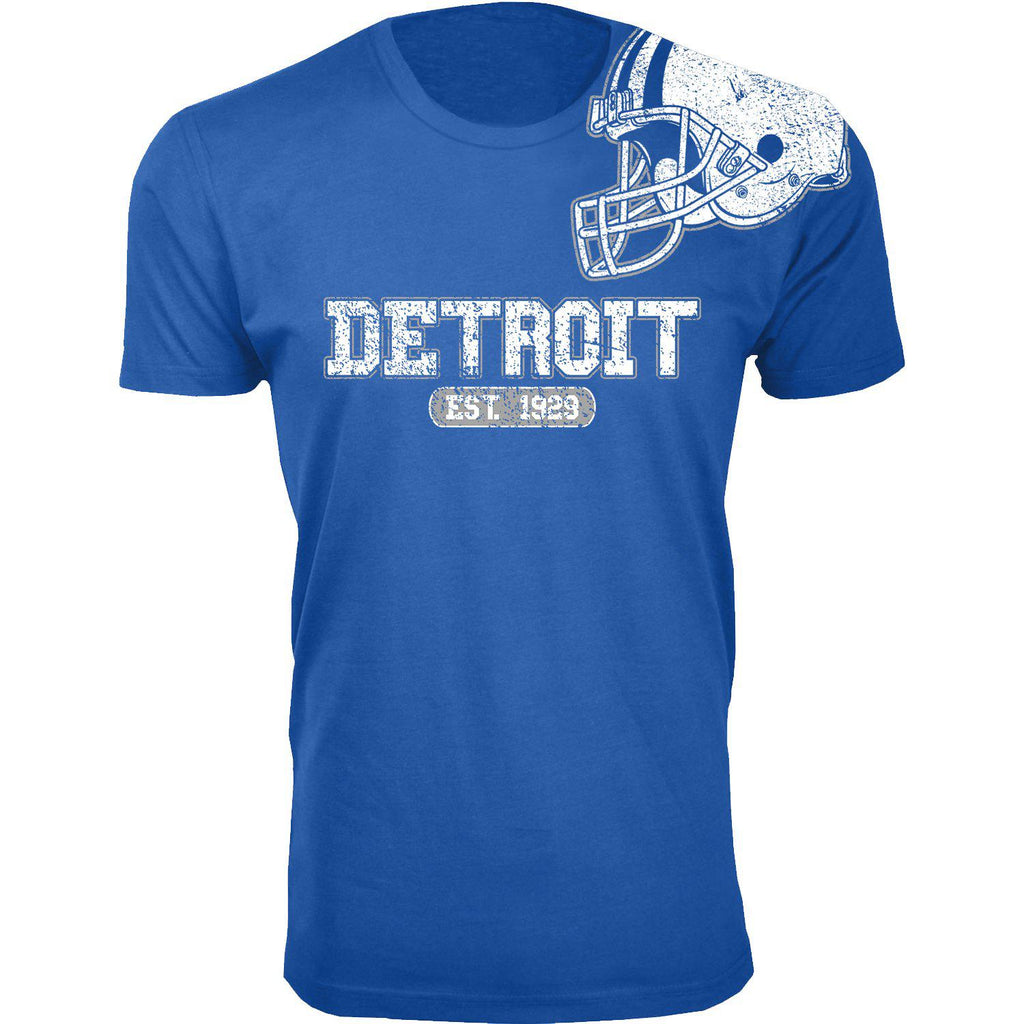 Men's Football Helmet Cotton T-Shirts-Detroit - Royal Blue-2X-Large-Daily Steals