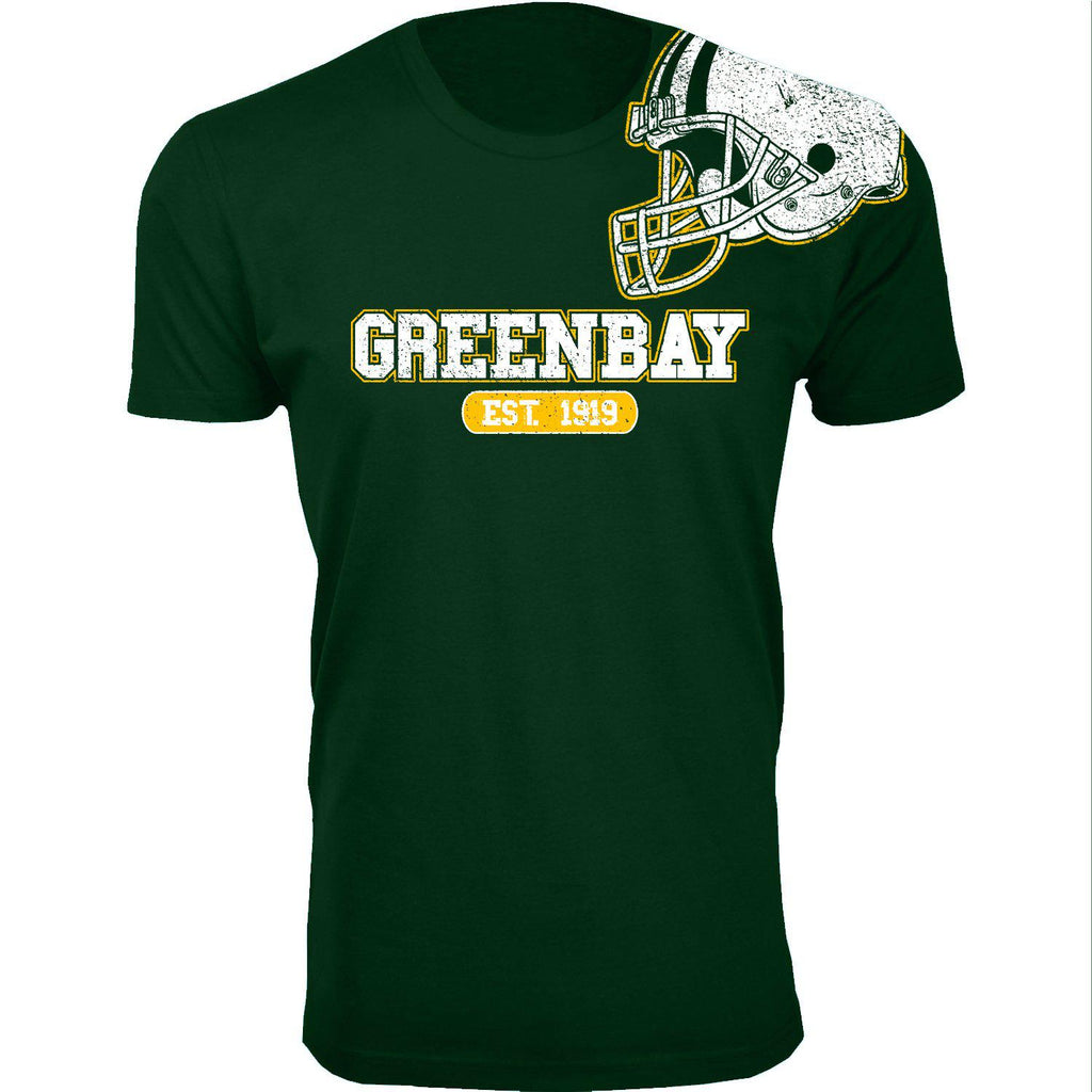 Men's Football Helmet Cotton T-Shirts-Green Bay - Forest Green-2X-Large-Daily Steals