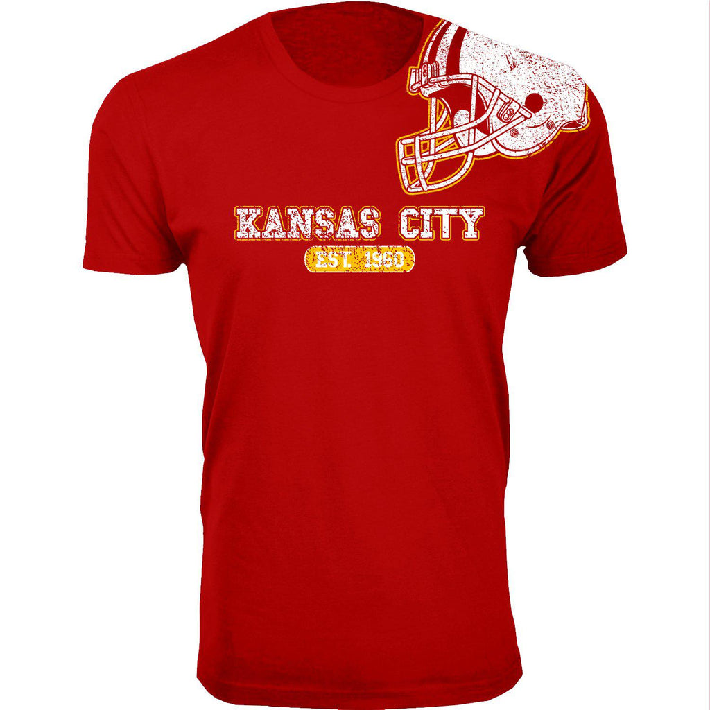 Men's Football Helmet Cotton T-Shirts-Kansas City - Red-2X-Large-Daily Steals