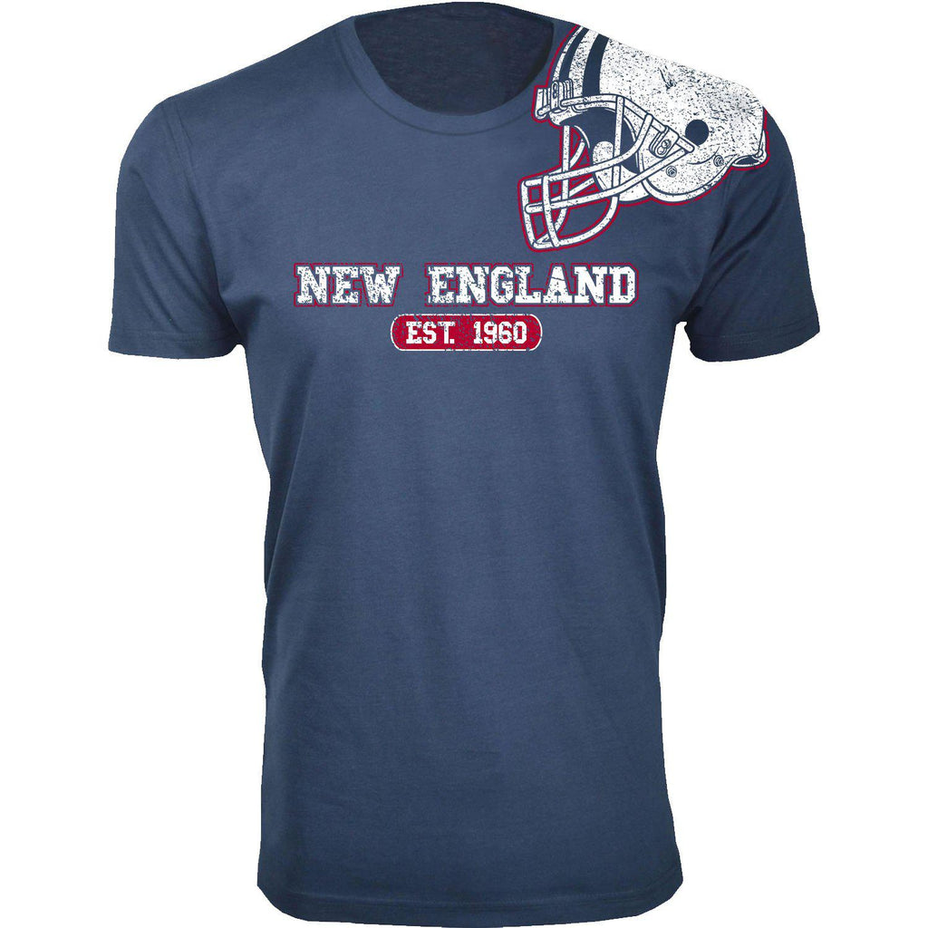 Men's Football Helmet Cotton T-Shirts-New England - Navy-2X-Large-Daily Steals
