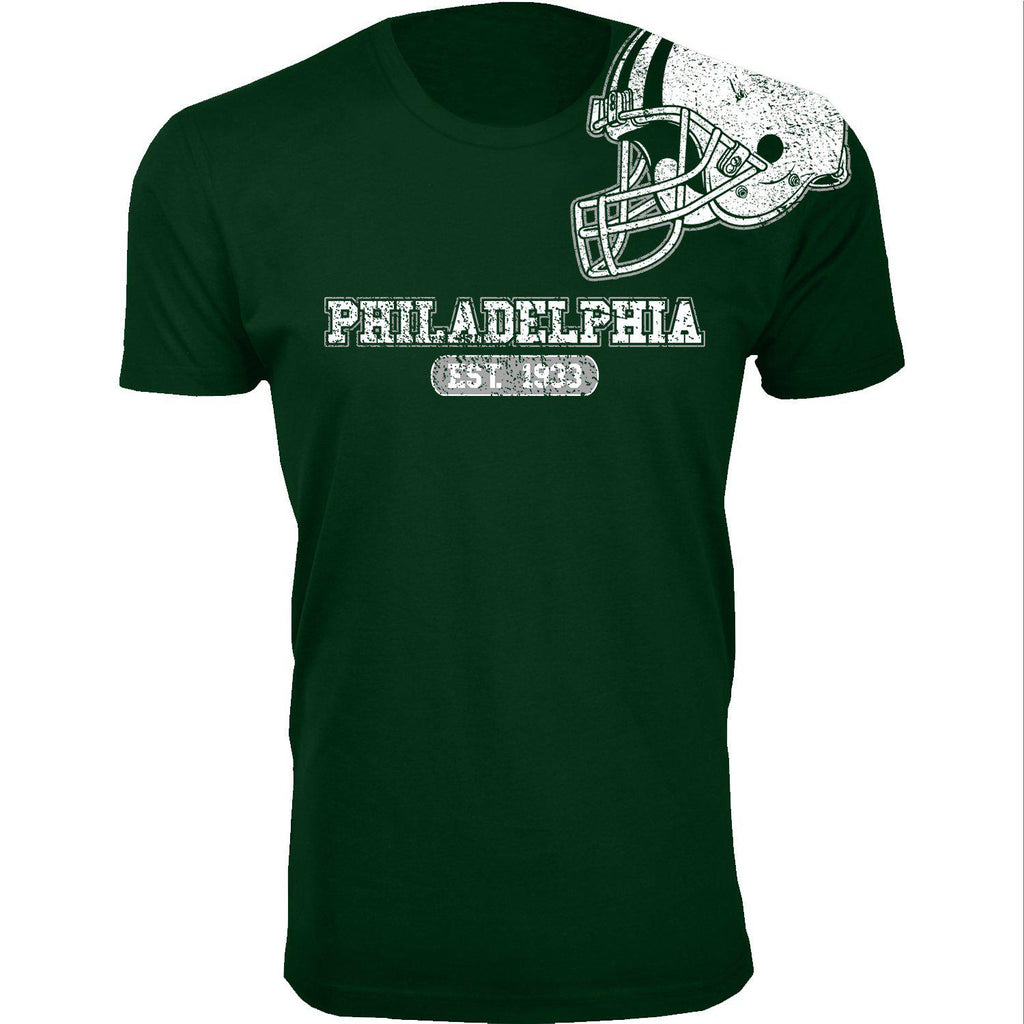 Men's Football Helmet Cotton T-Shirts-Philadelphia - Forest Green-2X-Large-Daily Steals