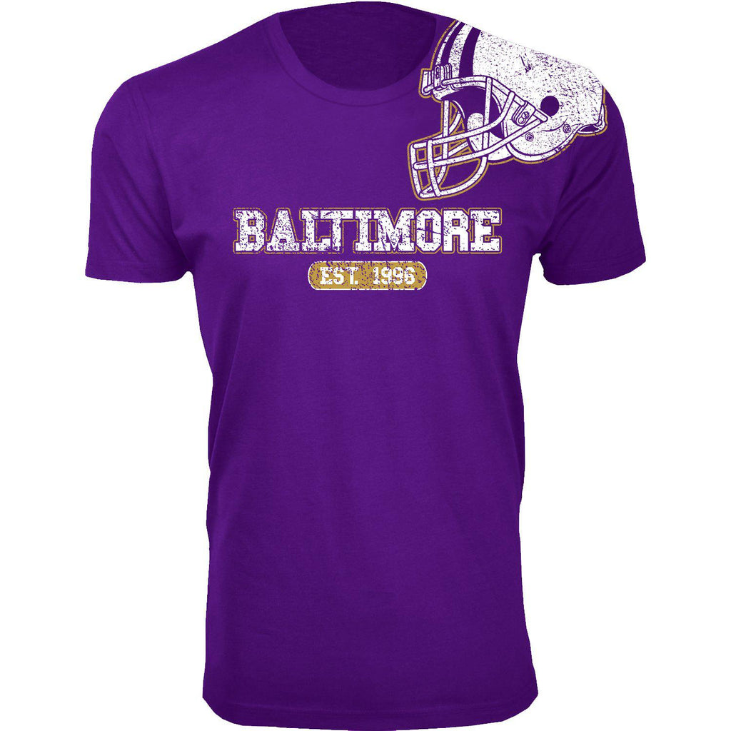 Men's Football Helmet Cotton T-Shirts-Baltimore - Purple-2X-Large-Daily Steals