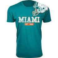 Men's Football Helmet Cotton T-Shirts-Miami - Aqua-2X-Large-Daily Steals