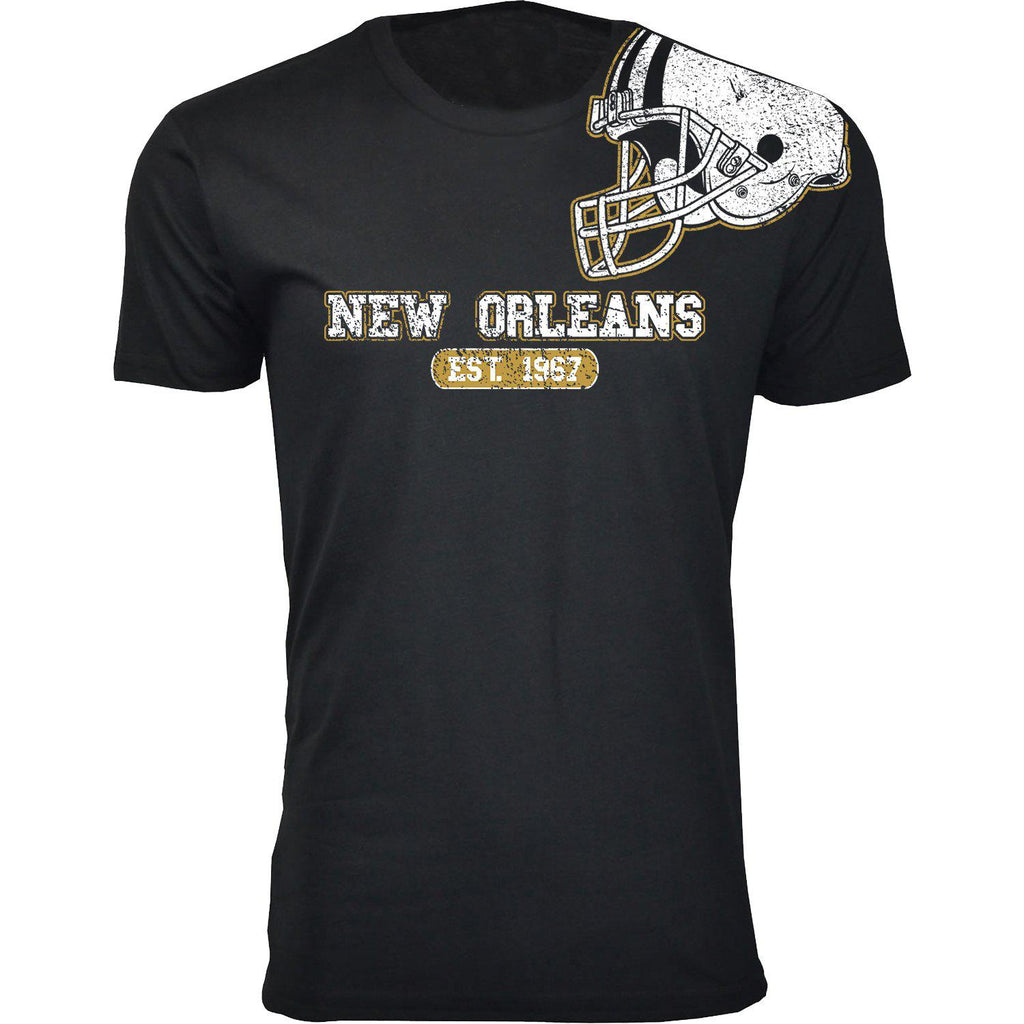 Men's Football Helmet Cotton T-Shirts-New Orleans - Black-2X-Large-Daily Steals
