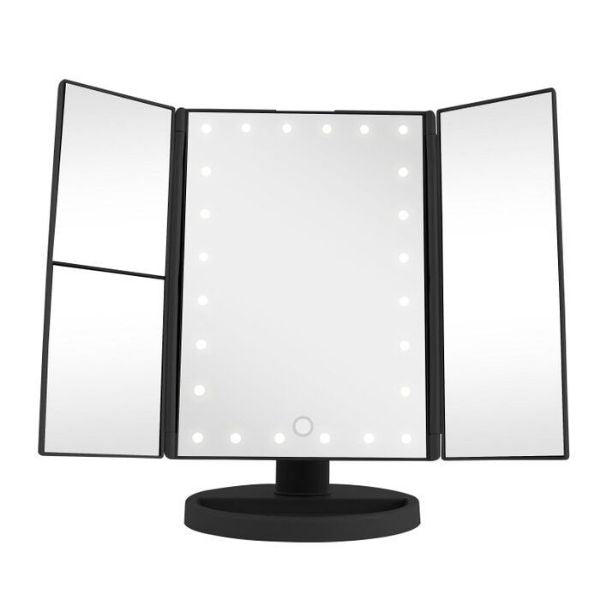 Vivitar Simply Beautiful 24 LED Light Up Trifold Mirror-Black-Daily Steals
