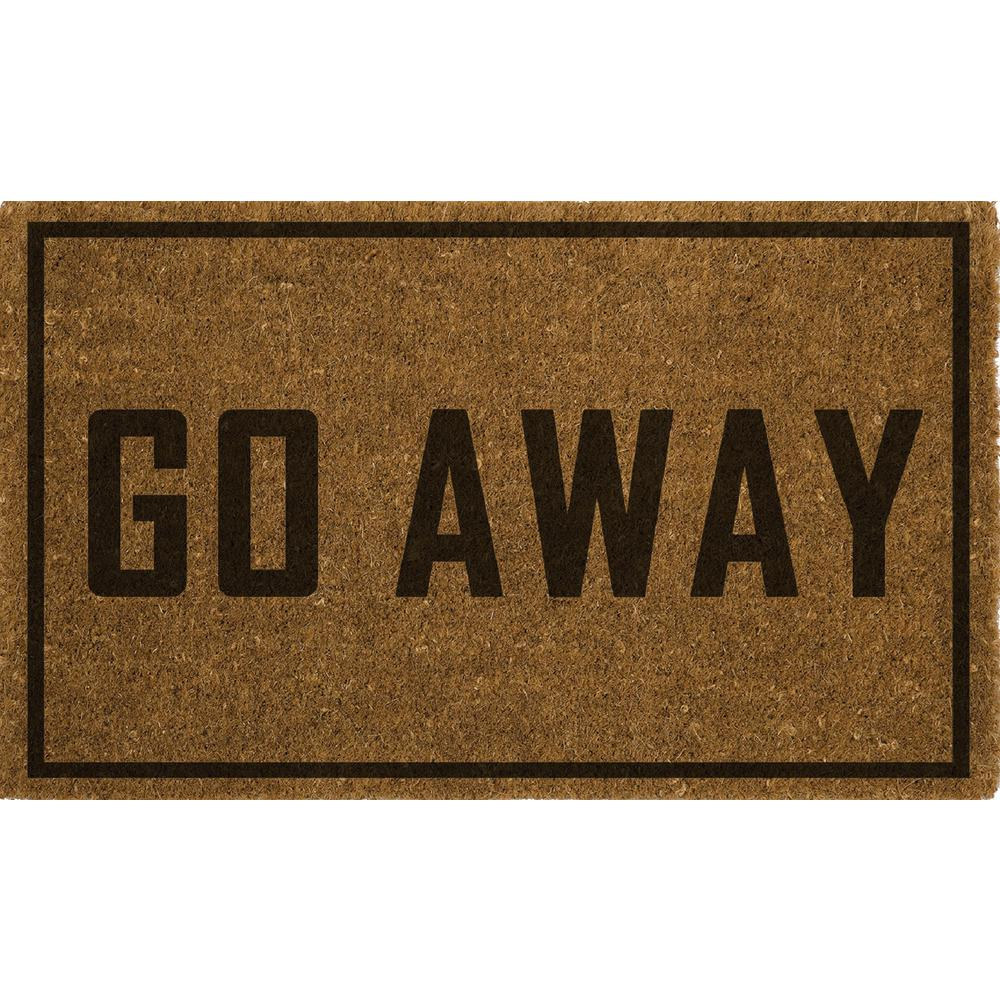 "18"" x 28"" Outdoor Printed Coir Mat-Go Away-Daily Steals"