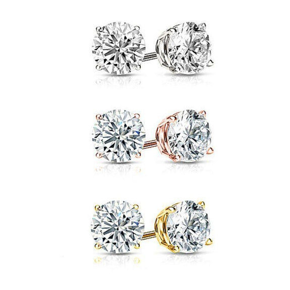 GOLD PLATED ROUND CUT CRYSTAL STUDS- 3 PAIRS-