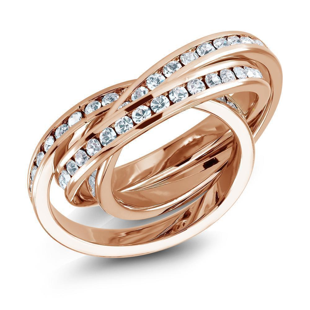 Daily Steals-Gold-Plated Triple-Stacked Twirl Ring made with Swarovski Crystals-Jewelry-Rose-6-