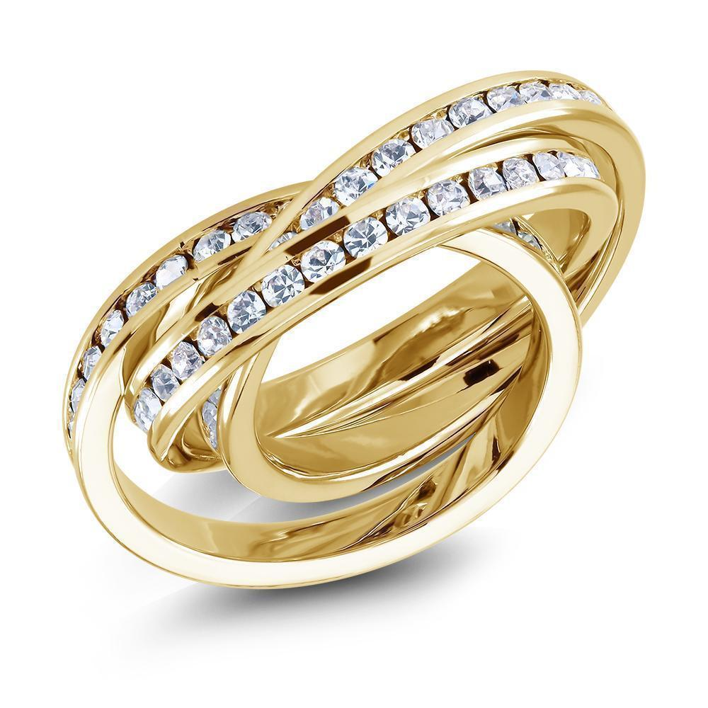 Daily Steals-Gold-Plated Triple-Stacked Twirl Ring made with Swarovski Crystals-Jewelry-Yellow-6-