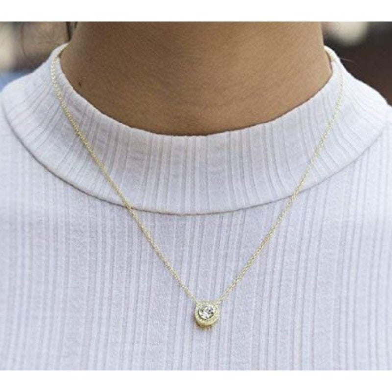 Classic Round Halo Necklace Made with Swarovski Crystals-Daily Steals