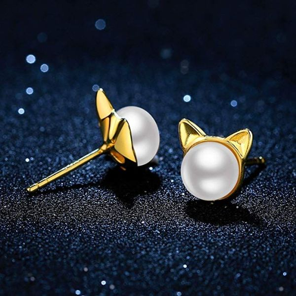 Fresh Water Pearl Freshwater Pearl Kitty Cat Stud Earrings-Daily Steals