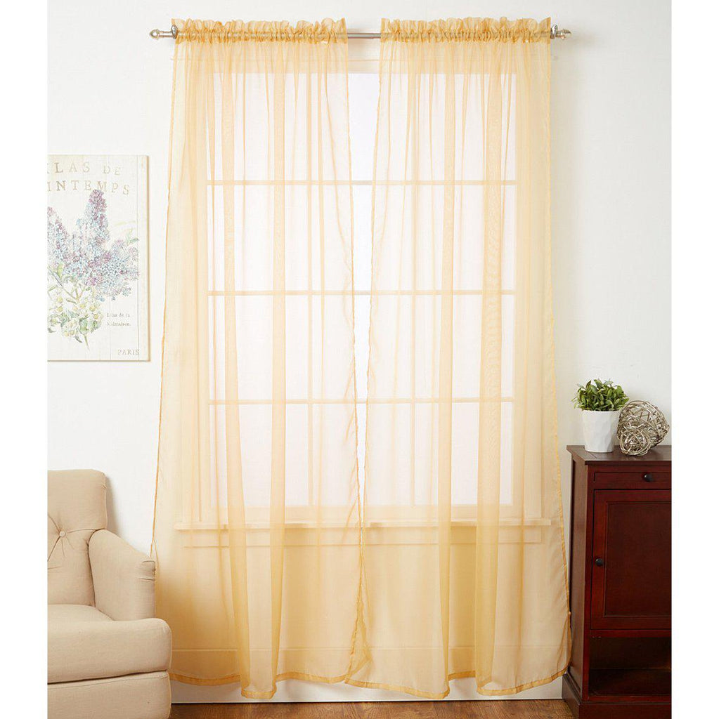 Linda Sheer Voile Curtain Panels - Various Colors - 4-Pack-GOLD-Daily Steals
