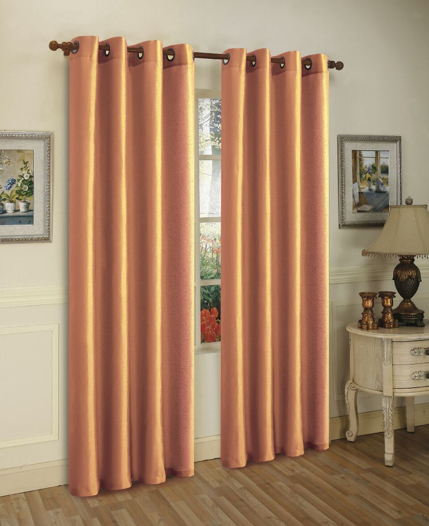 Mira Faux Silk Curtains with Bronze Grommets - 3 Panels-Gold-Daily Steals