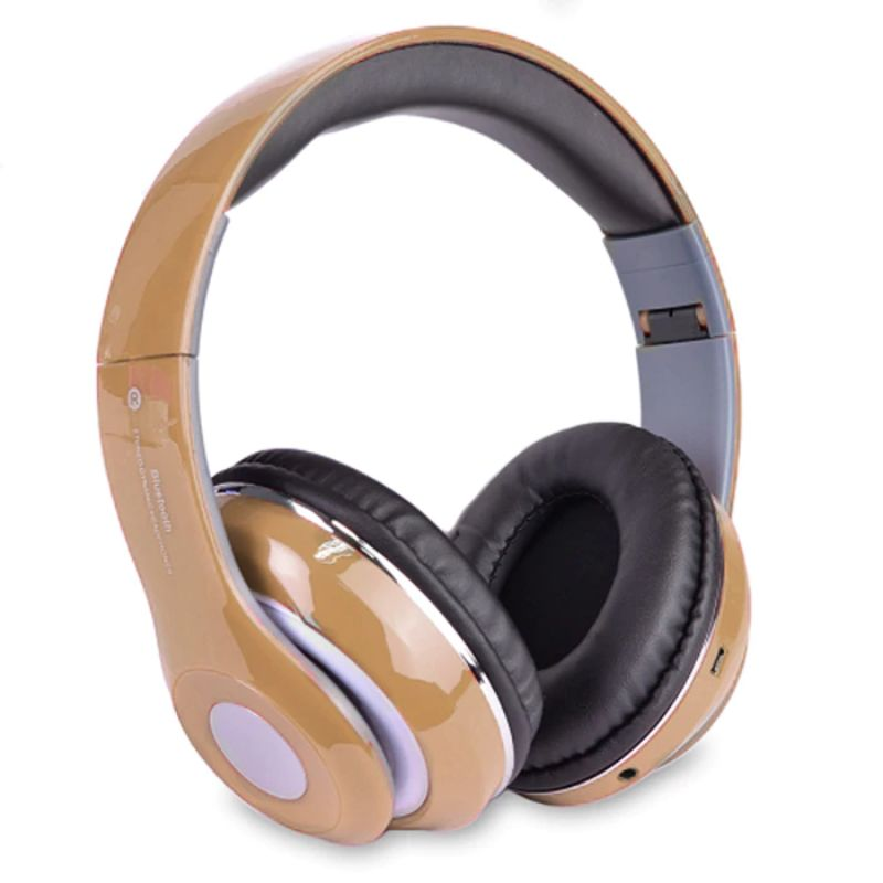 Bluetooth Wireless Headphones with Built In FM Tuner, Memory Card Slot and Mic-Gold-Daily Steals