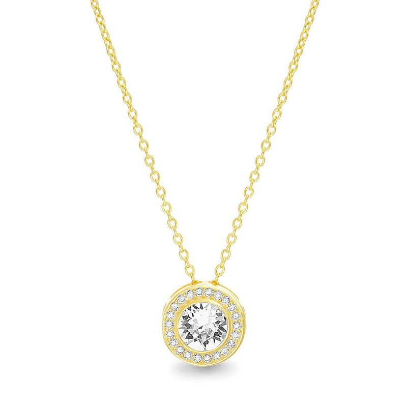 Classic Round Halo Necklace Made with Swarovski Crystals-Yellow Gold-Daily Steals