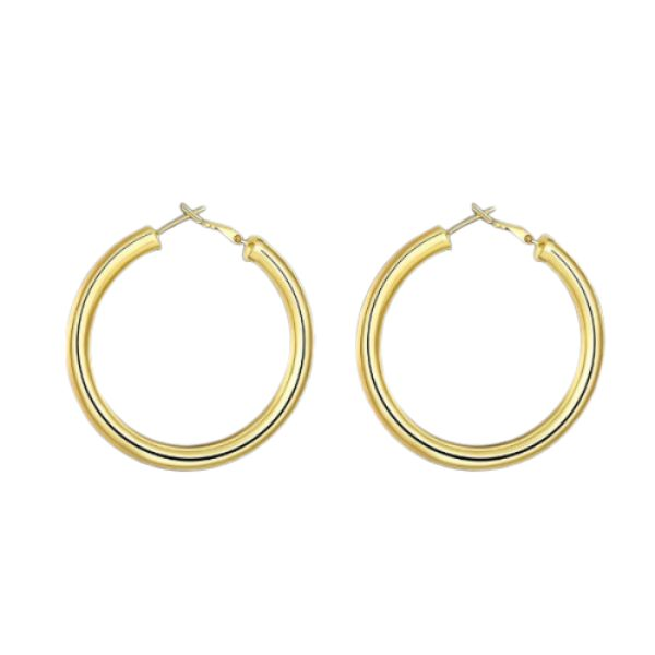 Tube Hoop Earrings-Yellow Gold-Daily Steals