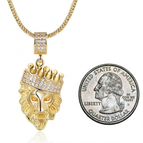 Daily Steals-18K Gold-Plated Lion Head Pendant in FoxTail Chain Necklace-Jewelry-