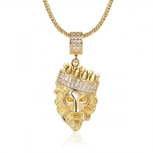 18K Gold-Plated Lion Head Pendant in FoxTail Chain Necklace-Daily Steals
