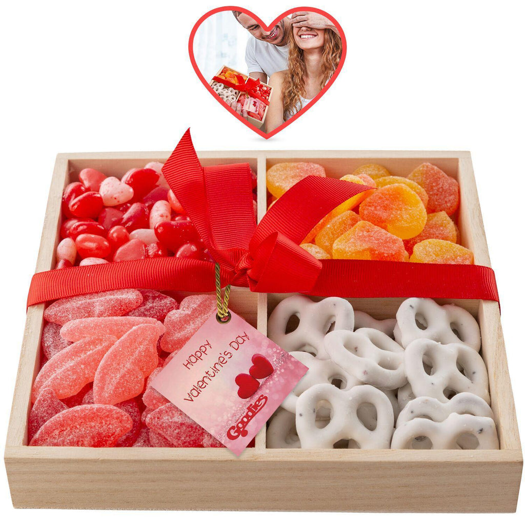 Gourmet Candy and Chocolate Gift Tray with Valentines Greeting Card-4 Section Tray-Daily Steals