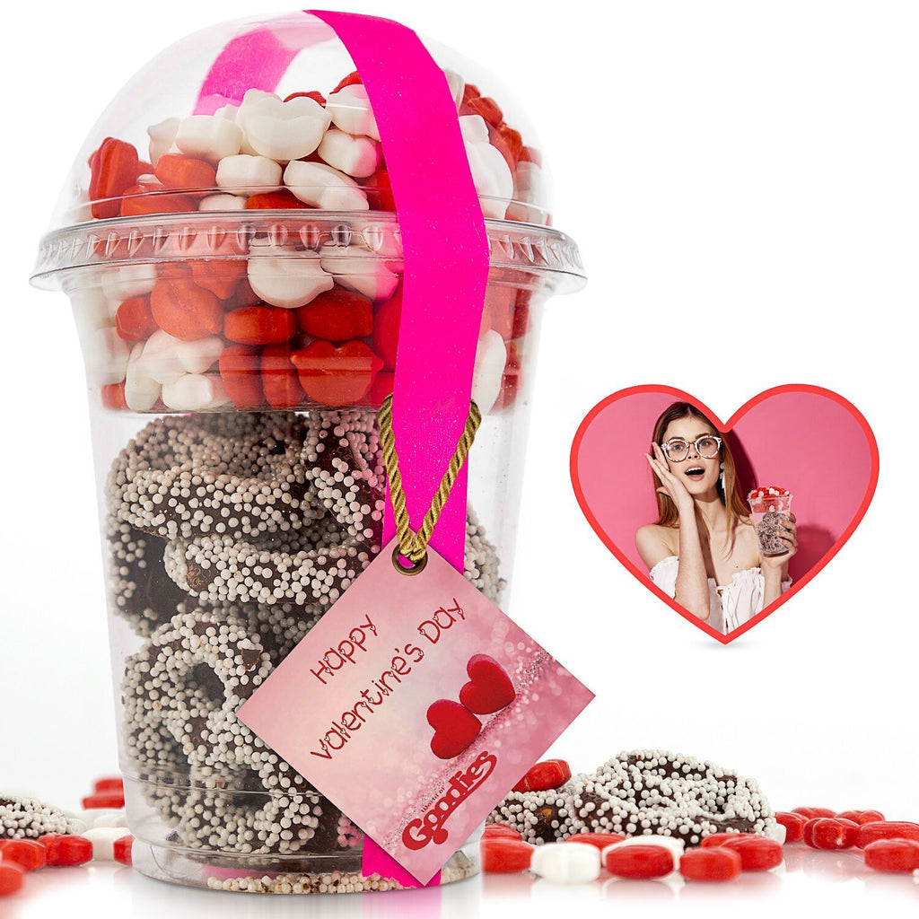 Gourmet Candy and Chocolate Gift Tray with Valentines Greeting Card-Goodies Lips and Pretzles-Daily Steals