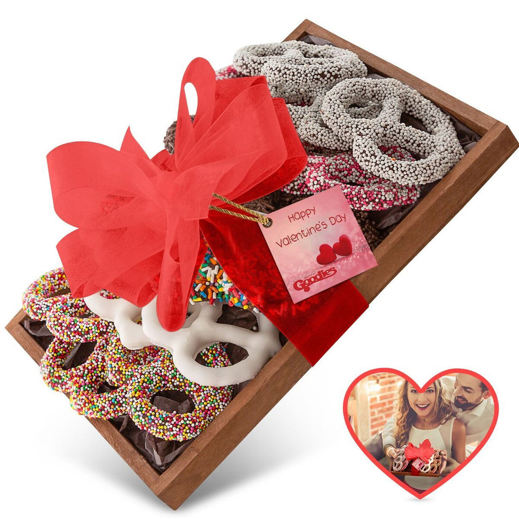 Gourmet Candy and Chocolate Gift Tray with Valentines Greeting Card-Medium Tray of Pretzels-Daily Steals