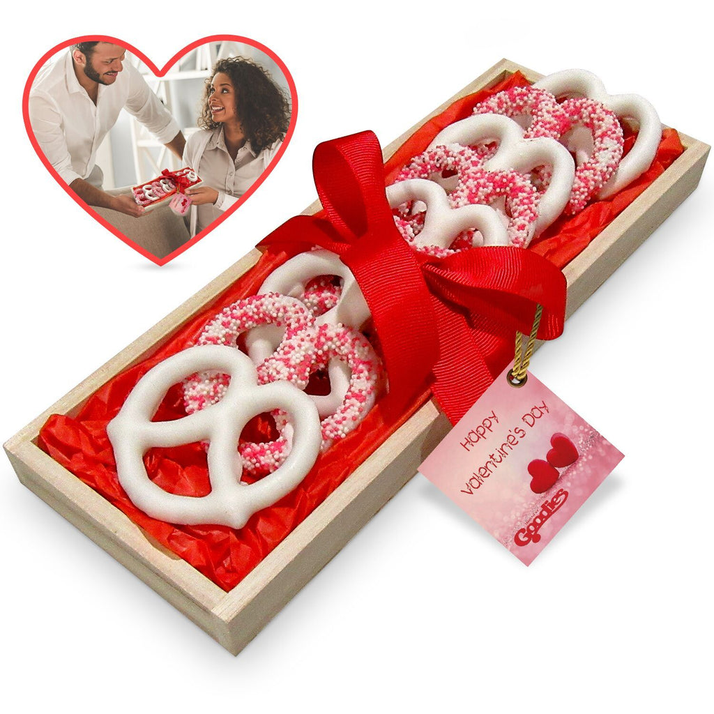Gourmet Candy and Chocolate Gift Tray with Valentines Greeting Card-Small Tray of Pretzels-Daily Steals
