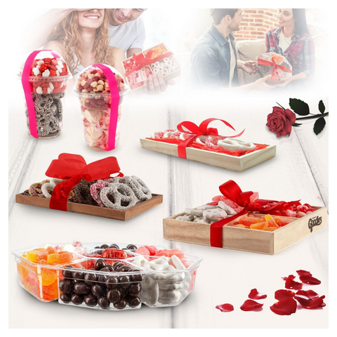 Daily Steals-Gourmet Candy and Chocolate Gift Tray with Valentines Greeting Card-Foods-4 Section Tray-