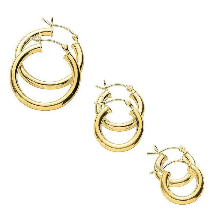 Classic Polished 3 Pair Hoop Earrings Set-Yellow-Daily Steals