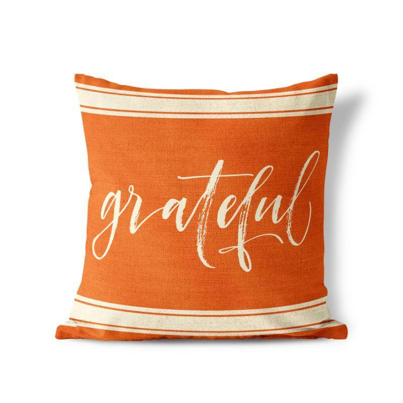 "Grateful - Orange - Square Pillow Cover - 17""x17""-"