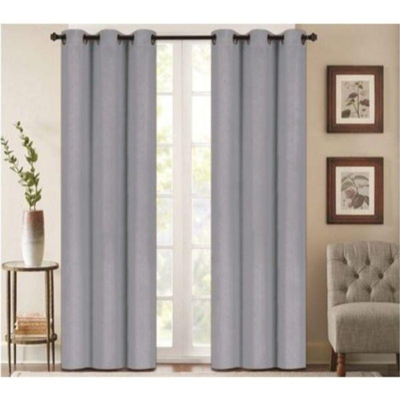 "Embossed Faux Silk 76""x63"" or 76""x84"" Grommet Window Panel Pair-GREY-76'' X 63''-Daily Steals"