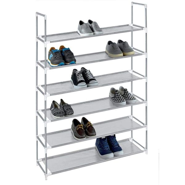 6-Tier Space Saving Shoe Rack (Fits 30 Pairs)-Gray-Daily Steals
