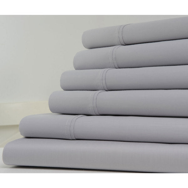 6-Piece Set: Kathy Ireland 1200 Thread Count Cotton-Rich Solid Sheets - Assorted Colors-Grey-Full-Daily Steals
