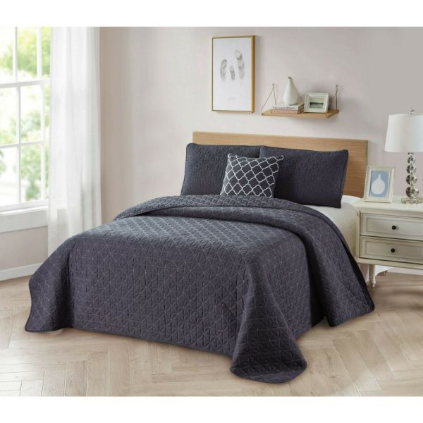 Bibb Home 4-Piece Solid Reversible Quilt Set-Grey-King-Daily Steals