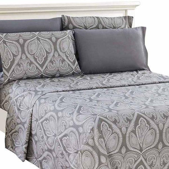 Paisley Printed Deep Pocket Bed Sheet Set - 6 Piece-GREY-Full-Daily Steals
