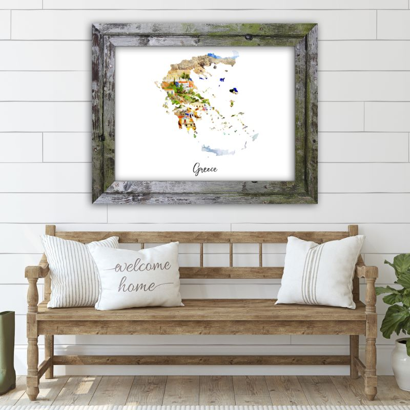"Greece Watercolor Map Print - Unframed Art Print-19""x13""-Horizontal/Landscape-Daily Steals"