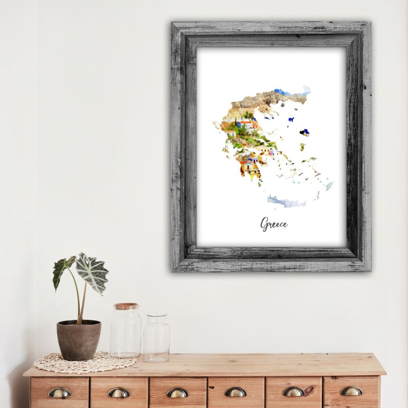 "Greece Watercolor Map Print - Unframed Art Print-11""x14""-Vertical/Portrait-Daily Steals"