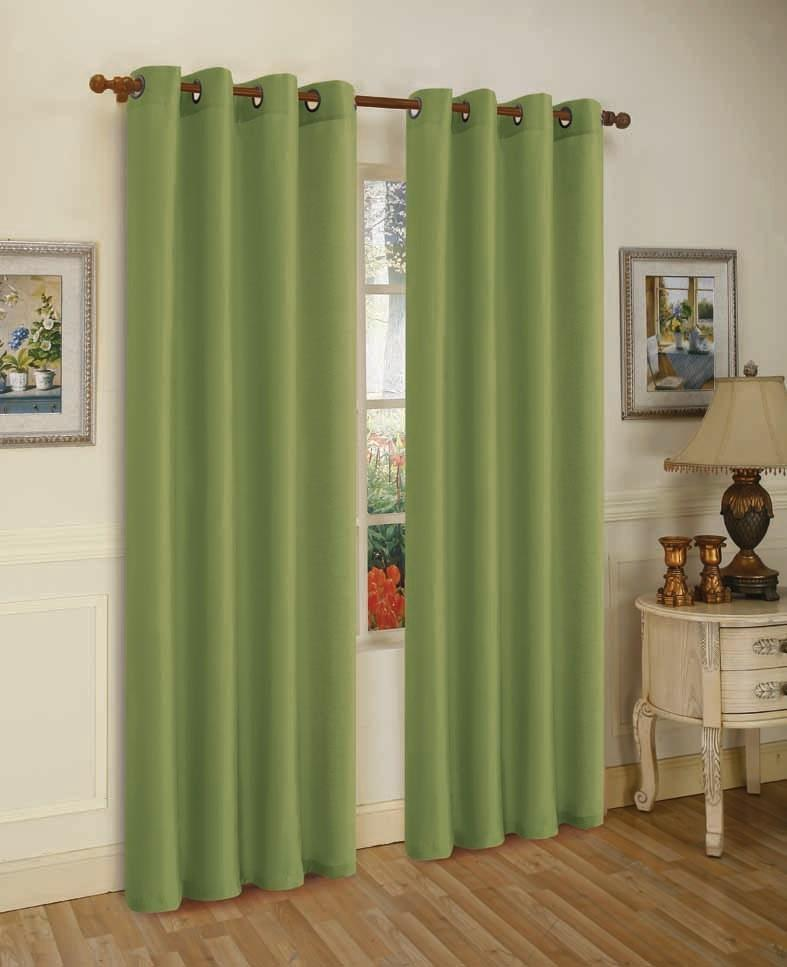 Mira Faux Silk Curtains with Bronze Grommets - 3 Panels-Green-Daily Steals