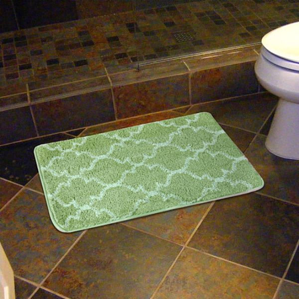 "17 x 24"" Super-Soft Barcelona Bath Mat-Green-Daily Steals"