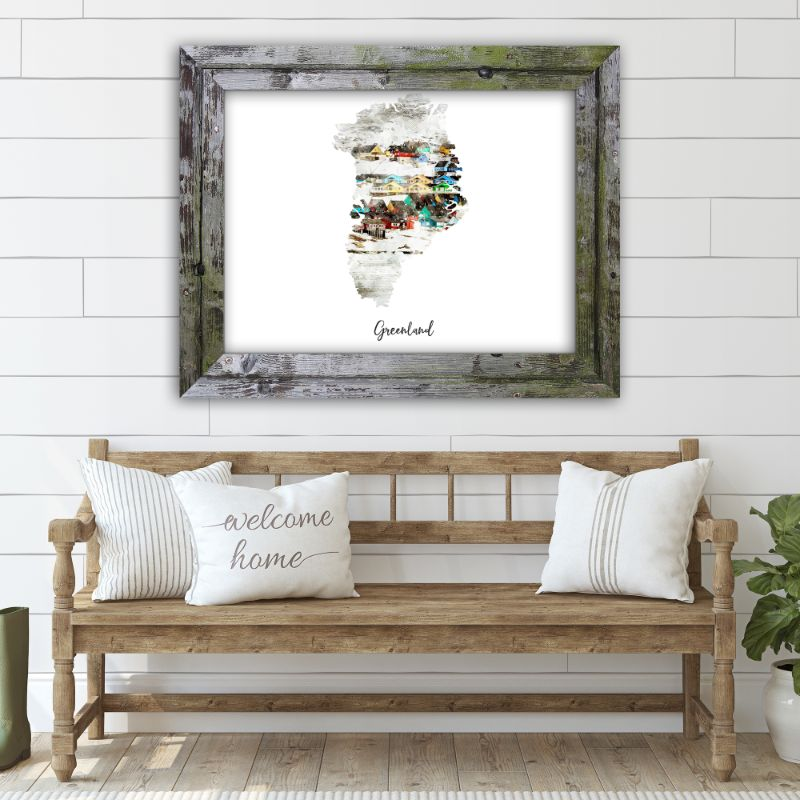 "Greenland Watercolor Map Print - Unframed Art Print-18""x12""-Horizontal/Landscape-Daily Steals"