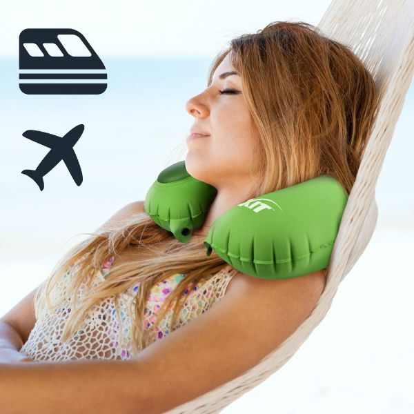 Inflatable Neck Pillow for Travel with Built-in Pump-Daily Steals