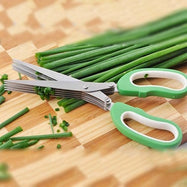 5-Blade Herb Scissors with Cleaning Cover-Green-Daily Steals