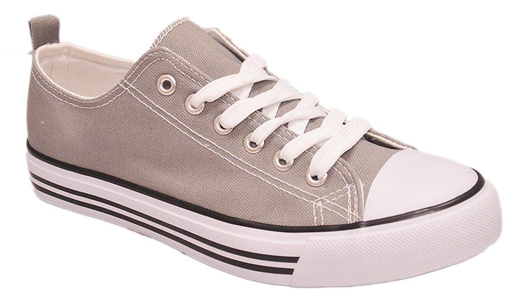 Women's Canvas Cap Toe Sneakers Low Top Shoes-Grey-6-Daily Steals