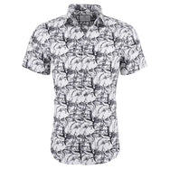 Suslo Couture Men's Slim Fit Designable Printed Short Sleeve Button Down Shirt-Grey & Grey Chains-S-Daily Steals