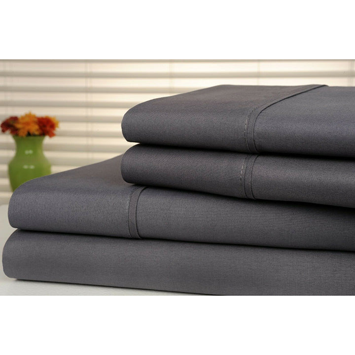Bamboo Luxury 1800 Count Solid Sheet Set - 4 Pieces-Grey-Full-Daily Steals