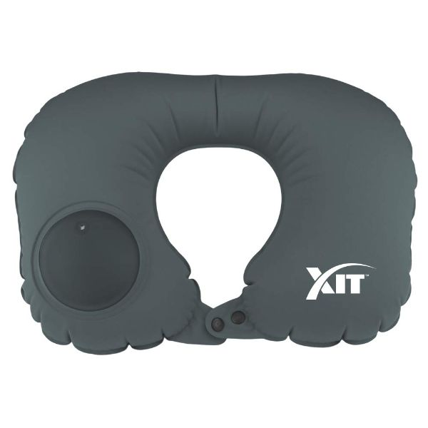 Inflatable Neck Pillow for Travel with Built-in Pump-Gray-Daily Steals