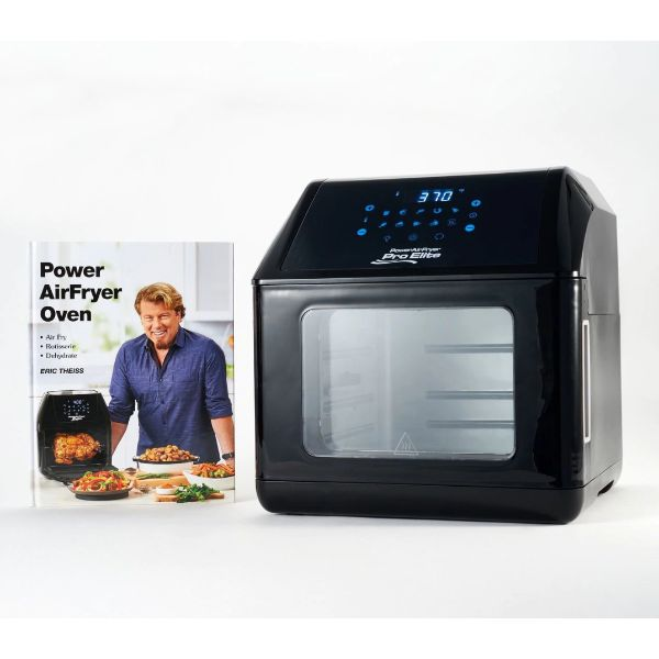 Power Air Fryer 10-in-1 Pro Elite Oven 6-qt with Cookbook-Black-Daily Steals